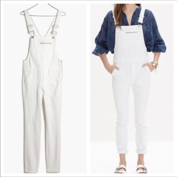 best wholesaler discount for sale moderate price Madewell skinny Overalls side zip white denim New NWT
